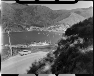 Passenger ship berthed at Picton wharf, with yachts in the background, Picton, Marlborough region