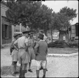 British Secretary of State for India, Hon L C M S Amery, talking with New Zealand officers in Italy, World War II - Photograph taken by Cedric Mentiplay