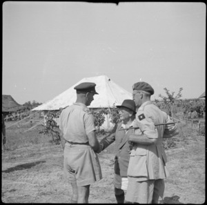 Major General Weir chatting to Hon L C M S Amery and Major General Burch in northern Italy, World War II - Photograph taken by Cedric Mentiplay