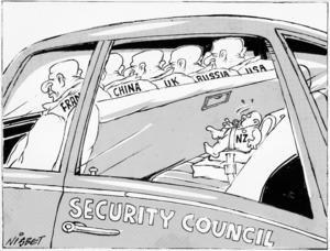 Nisbet, Alistair, fl 1990s :Fran[ce]. China. U.K. Russia. U.S.A. N.Z. Security Council. Christchurch Press. 30 October, 1992.