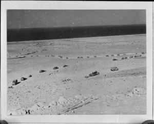 View from top of the Halfaya Pass, Egypt, showing 8th Army transport convoy below, World War II - Photograph taken by H Paton