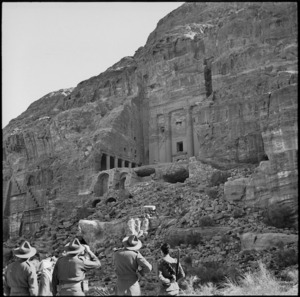 Rock tombs on the red cliff face at Petra, Jordan - Photograph taken by M D Elias
