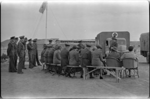 Hand over of two donated ambulances at 23 New Zealand Field Ambulance in Maadi Camp, Egypt, World War II - Photograph taken by W Timmins