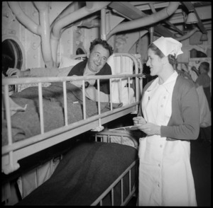 New Zealand patient on HMS Maunganui prior to departure for NZ, Port Tewfik, Egypt, World War II