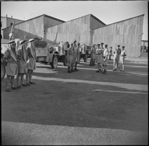 New Zealand Patrol of LRDG on parade for General Auchinleck in Cairo, Egypt