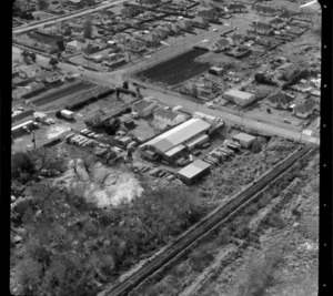 Mt Roskill/Onehunga area, Auckland, including unidentified business premises/factory by railway line