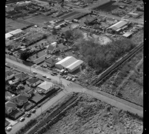 Mt Roskill/Onehunga area, Auckland, by railway line, including unidentified business premises/factories