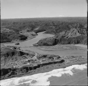 Mokau, Waikato District, including Mokau River, with Mount Egmont in the distance