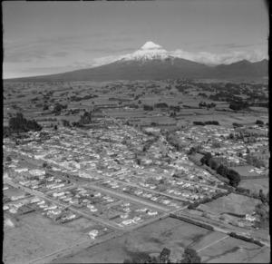 View over the town of Inglewood to farmland and Mount Taranaki beyond, New Plymouth District, Taranaki Region