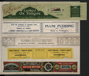 Various artists :[Five canned meat labels. ca 1890-1920].