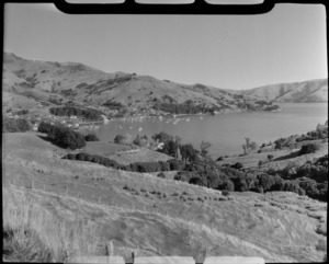 Akaroa, Banks Peninsula, including houses and harbour in the distance