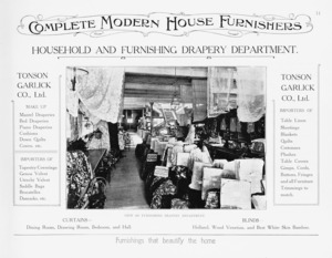 Tonson Garlick Co :Household and furnishing drapery department. Curtains, blinds, furnishings that beautify the home. [ca 1910].