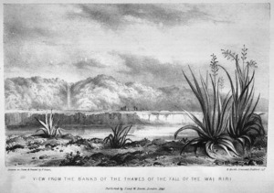 [Merrett, Joseph Jenner] 1816-1854 :View from the Banks of the Thames of the Fall of Wai Riri. Drawn on stone and printed by P. Gauci. [London, 1842]