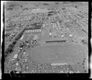 Aerial view of Palmerston North A & P Showgrounds (Agricultural & Pastoral), Manawatu-Whanganui Region, including show jumping in progress