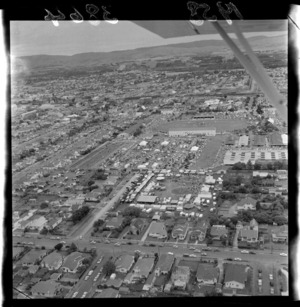 Aerial view of Palmerston North A & P Showgrounds (Agricultural & Pastoral), including funfair, Manawatu-Whanganui Region