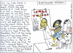 Doyle, Martin, 1956- :Kuri Porangi Primary - All us kidz went 2 a fool skool assembly today. Mister Key took control of it ... 20 June 2012