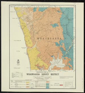 Geological map of Whaingaroa survey district [cartographic material] / drawn by G.E. Harris.
