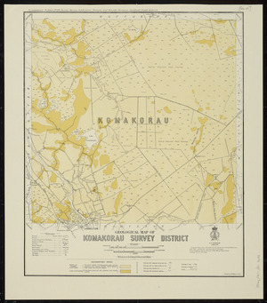 Geological map of Komakorau survey district [cartographic material] / drawn by G.E. Harris.