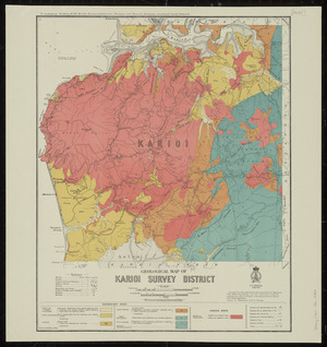 Geological map of Karioi survey district [cartographic material] / drawn by G.E. Harris.