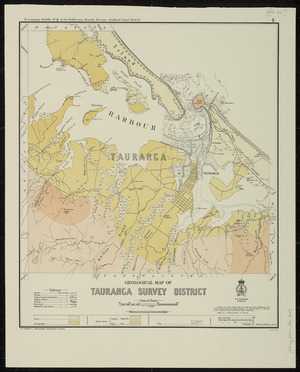 Geological map of Tauranga survey district [cartographic material] / drawn by G.E. Harris.