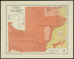 Geological map of Horohoro and part of Ngautuku survey districts [cartographic material] / drawn by G.E. Harris.