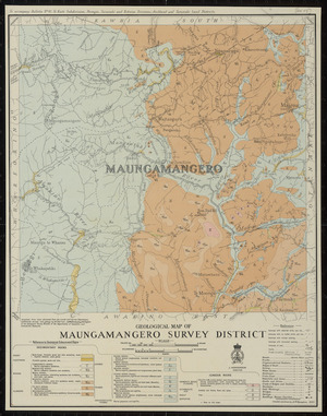 Geological map of Maungamangero survey district [cartographic material] / compiled and drawn by A.W. Hampton.