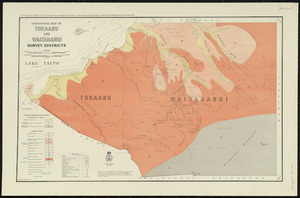 Geological map of Tokaanu and Waitahanui survey districts [cartographic material] / drawn by G.E. Harris.