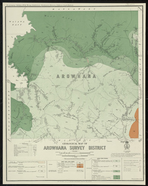 Geological map of Arowhana survey district [cartographic material] / drawn by G.E. Harris.