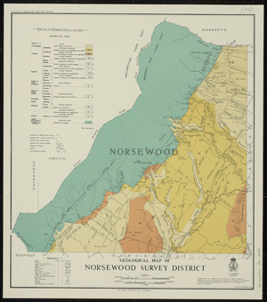 Geological map of Norsewood Survey District [cartographic material] / drawn by A.W. Hampton.