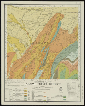 Geological map of Takapau Survey District [cartographic material] / drawn by A.W. Hampton.
