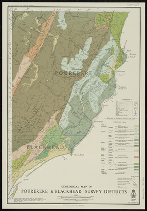 Geological map of Pourerere & Blackhead Survey Districts / drawn by A.W. Hampton.