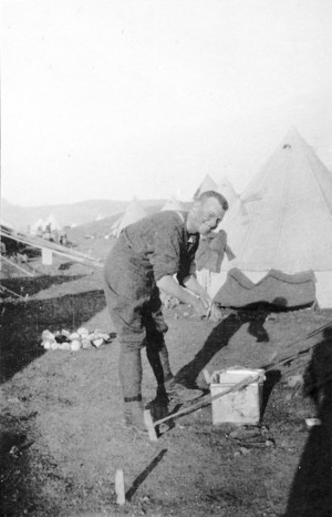 Lieutenant Fleming in camp on Limnos, Greece