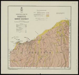 Geological map of Paritutu Survey District [cartographic material] / compiled and drawn by G.E. Harris and W. Bardsley.