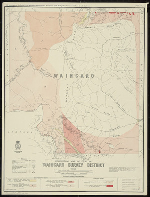 Geological map of part of Waingaro survey district / drawn by G.E. Harris.
