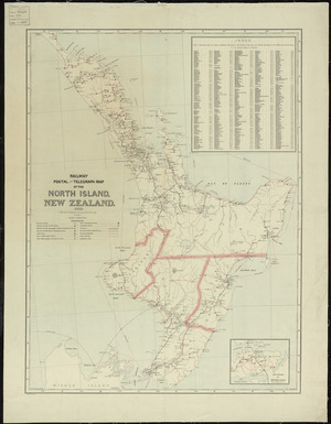 Railway, postal and telegraph map of the North Island, New Zealand [cartographic materia] ; Railway, postal and telegraph map of the Middle Island, New Zealand.