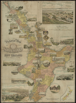 Pictorial map of the North Island of New Zealand [cartographic material] : compiled from the latest government maps and statistical records.