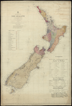 New Zealand, Pacific Ocean [cartographic material] : from surveys in H.M.S. Acheron & Pandora / J.L. Stokes, B. Drury and G.H. Richards, assisted by F.J. Evans [et al.] ; engraved by J. & C. Walker.