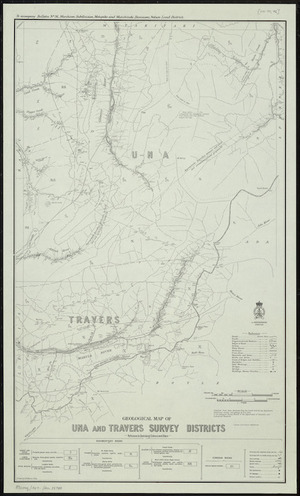 Geological map of Una and Travers Survey Districts / drawn by G.E. Harris, 1935.