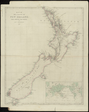 Map of the colony of New Zealand, from official documents [cartographic material] / by John Arrowsmith.