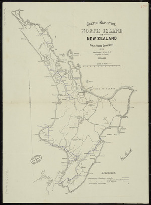 Sketch map of the North Island of New Zealand [cartographic material] / W.N. Blair, Engineer in charge ; drawn by A. Koch.  Sketch map of the Middle Island of New Zealand / John Blackett, Engineer in charge ; drawn by A. Koch.