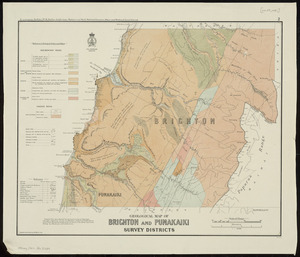 Geological map of Brighton and Punakaiki Survey Districts / compiled and drawn by G.E. Harris.