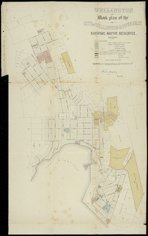 Wellington [cartographic material] : block plan of the city of Wellington & town belt shewing native reserves / Charles Heaphy ; lithographed by W. Reeves.