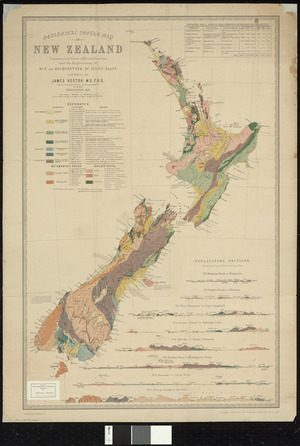 Geological sketch map of New Zealand [cartographic material] : constructed from official surveys and the explorations of Dr. F. von Hochstetter, Dr. Julius von Haast and others / [compiled] by James Hector ; drawn by A. Koch.