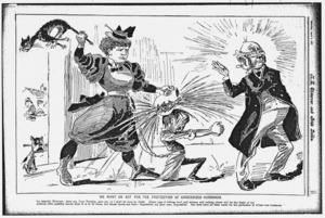 [Blomfield, William], 1866-1938 :We want an Act for the Protection of Undersized Husbands. New Zealand Observer and Free Lance, 8 April 1897.