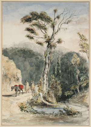 Oliver, Richard Aldworth, 1811-1889 :A Maori man and his wife on a road with a packhorse [ca 1850]