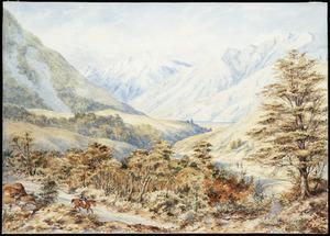 Barraud, Charles Decimus, 1822-1897 :[Craigieburn Valley on the West Coast Road. 1873].