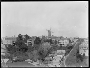 Scene in Auckland including J Partington's windmill