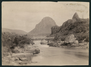 Creator unknown :Photograph of the Waikato River, including Pohaturoa Rock at Atiamuri, taken by Josiah Martin