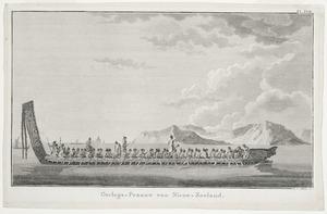 [Parkinson, Sydney] 1745-1771 :Oorlogs-Praauw van Nieuw-Zeeland / I S Klauber sc[ulpsit] Pl[ate] XVII [Leyden, Honkoop, 1803]