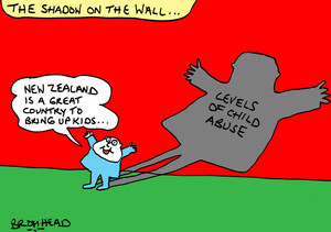 Bromhead, Peter, 1933- :The shadow on the wall... 'New Zealand is a great country to bring up kids...' 26 July 2012